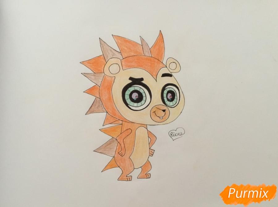 Как нарисовать ёжика Рассела из мультфильма My Littlest Pet Shop карандашом поэтапно