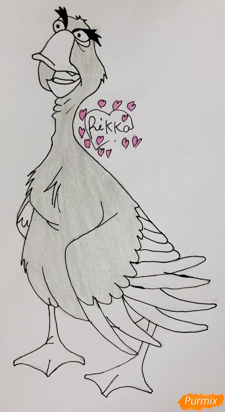 Рисуем гуся по имени Борис из мультфильма Балто карандашами - фото 5