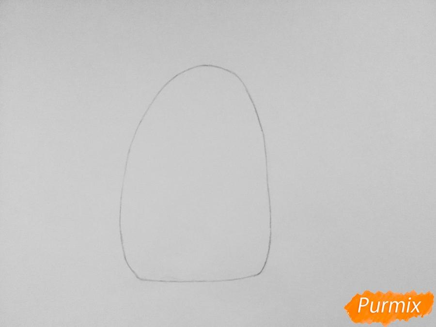 Рисуем кошку Хлою из мультфильма Тайная жизнь домашних животных - шаг 1