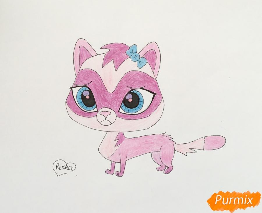 Как нарисовать хорька Jebbie из мультфильма My Littlest Pet Shop карандашом поэтапно