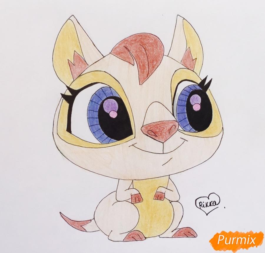 Как нарисовать кенгуру по имени Peachy из мультфильма My Littlest Pet Shop карандашом поэтапно