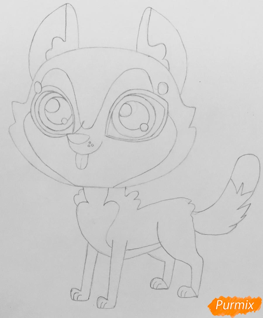 Рисуем коричневую хаски из мультфильма My Littlest Pet Shop - фото 4