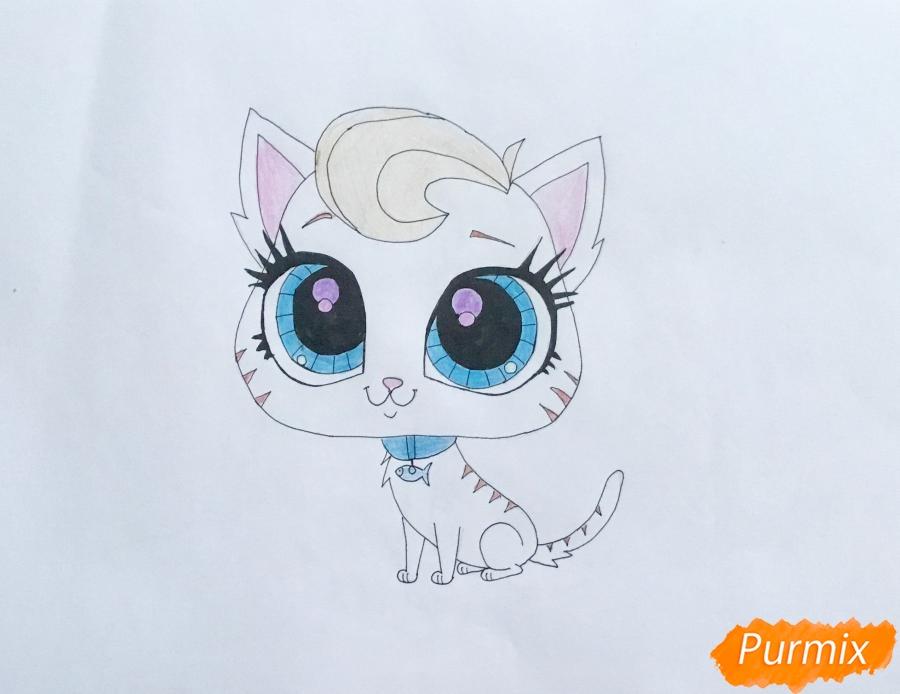 Рисуем кошечку Мяу Мяу из мульфильма My Littlest Pet Shop - шаг 6