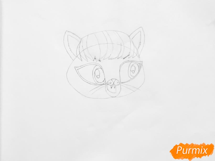 Рисуем кошку Делилу Барнслей из мультфильма My Littlest Pet Shop - шаг 3