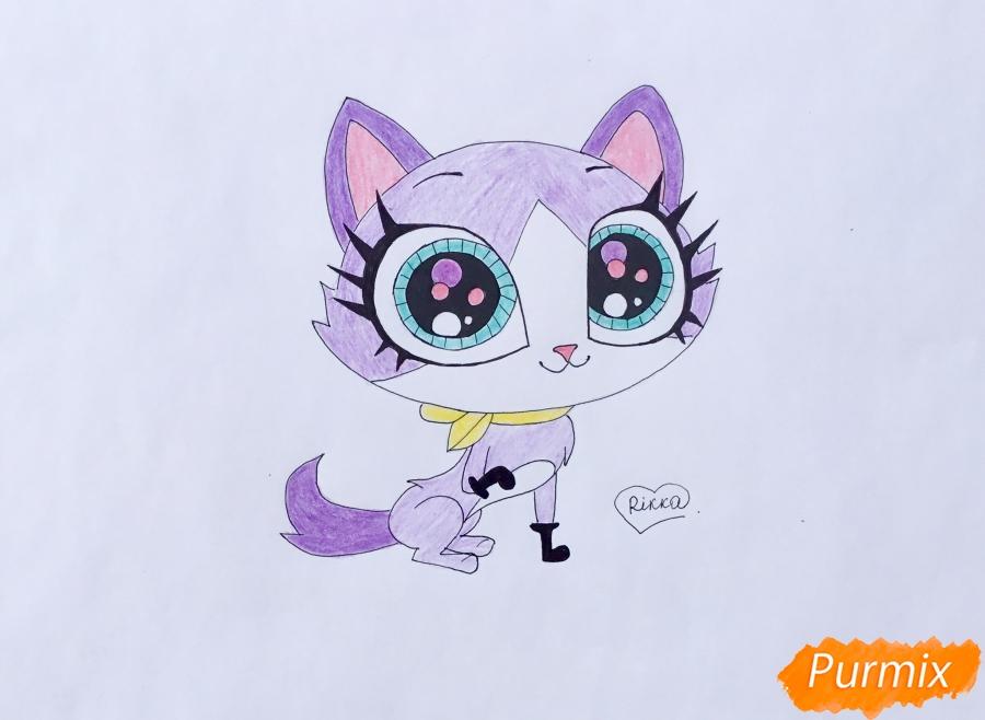 Как нарисовать кошку Фелину из мультфильма My Littlest Pet Shop карандашом поэтапно