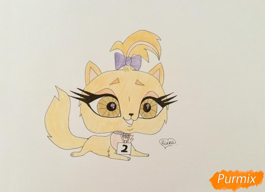 Как нарисовать кошку Флуффи из My Littlest Pet Shop карандашом поэтапно