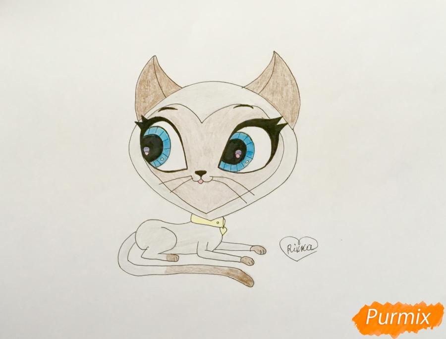 Как нарисовать кошку Керри из мультфильма My Littlest Pet Shop карандашом поэтапно