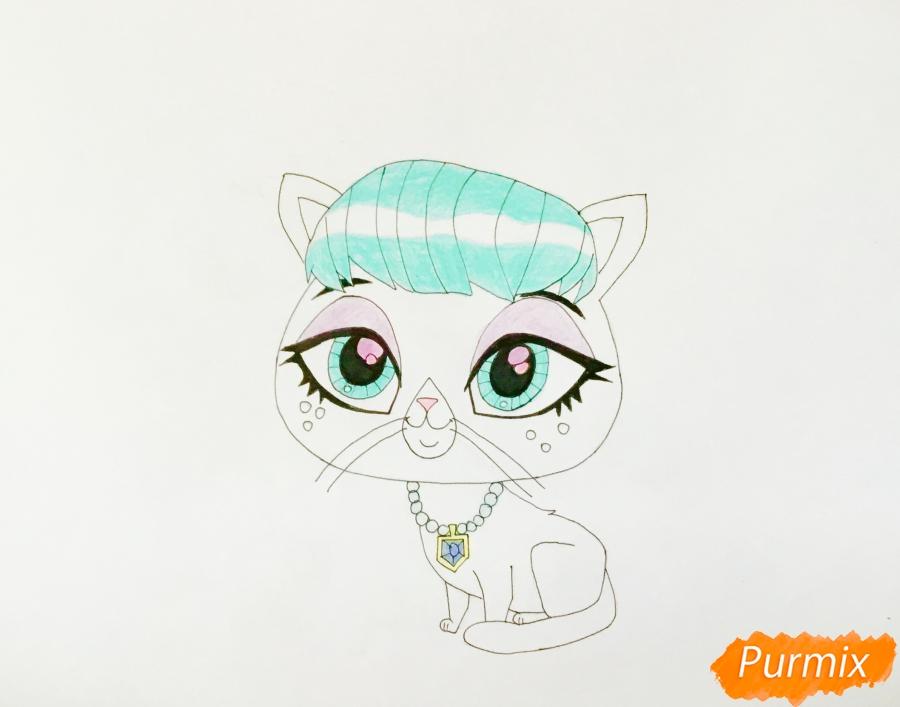 Рисуем кошку Милах из мультфильма My Littlest Pet Shop - шаг 6