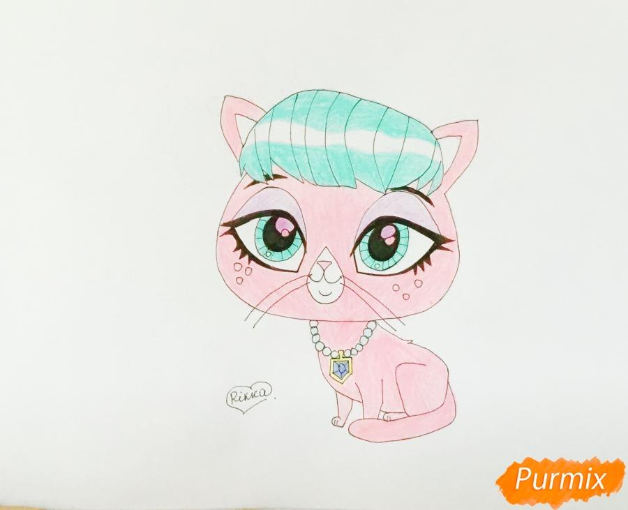 Как нарисовать кошку Милах из мультфильма My Littlest Pet Shop карандашом поэтапно