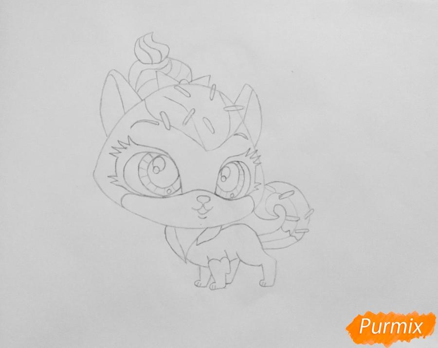 Рисуем кошку Шугар из мультфильма: My Littlest Pet Shop - шаг 4