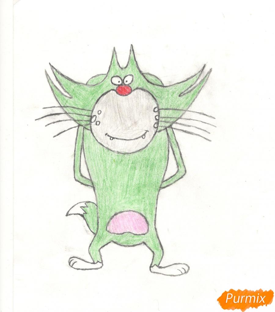 Как нарисовать кота Джека из мультисериала Огги и Тараканы карандашами поэтапно