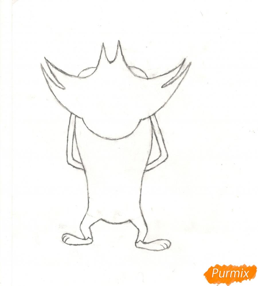 Рисуем кота Джека из мультисериала Огги и Тараканы карандашами - шаг 3