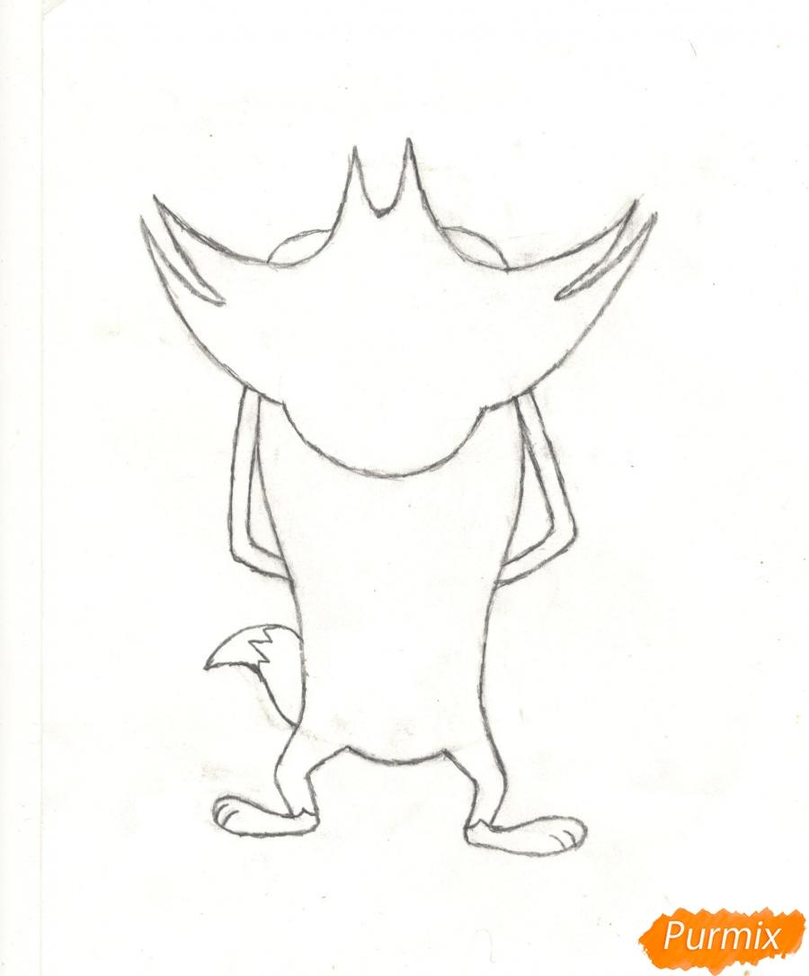 Рисуем кота Джека из мультисериала Огги и Тараканы карандашами - шаг 4