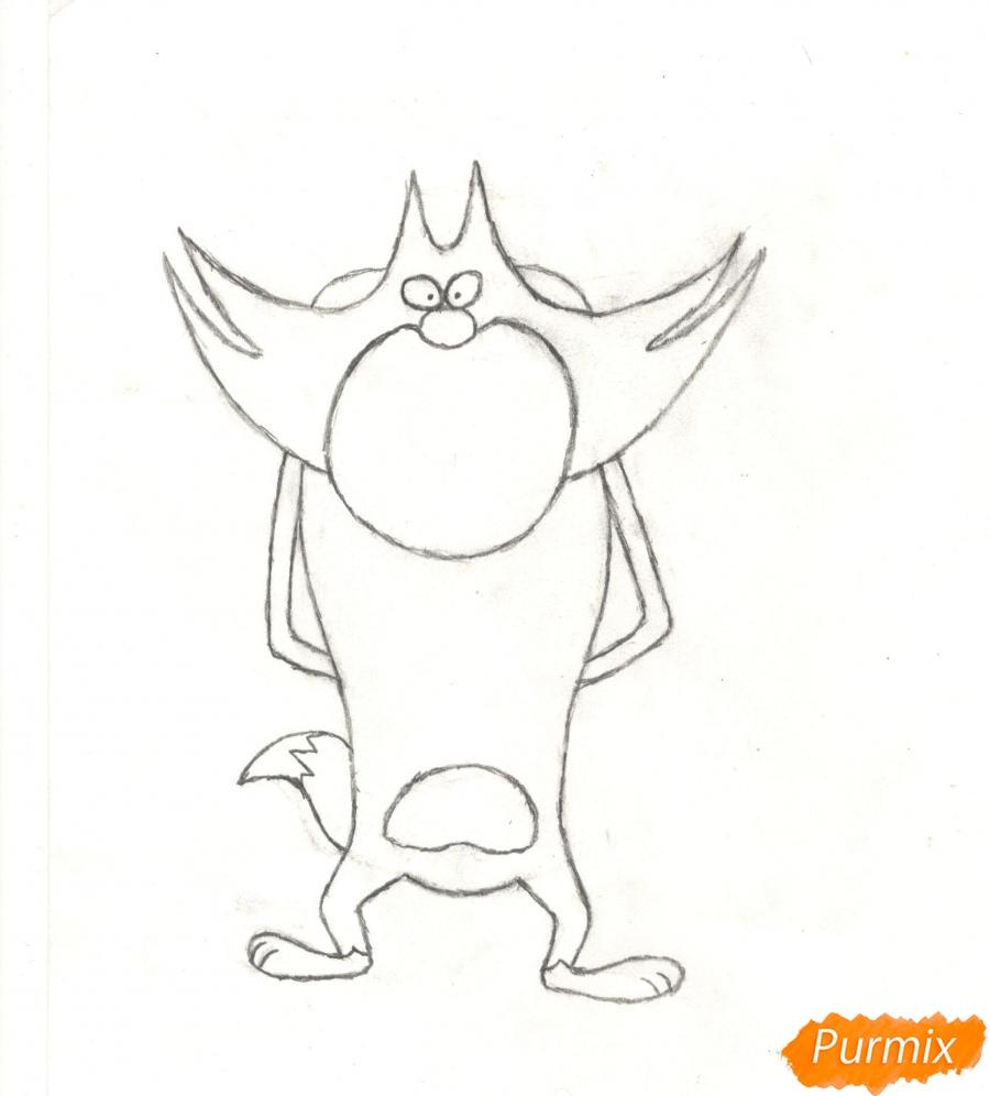 Рисуем кота Джека из мультисериала Огги и Тараканы карандашами - шаг 5