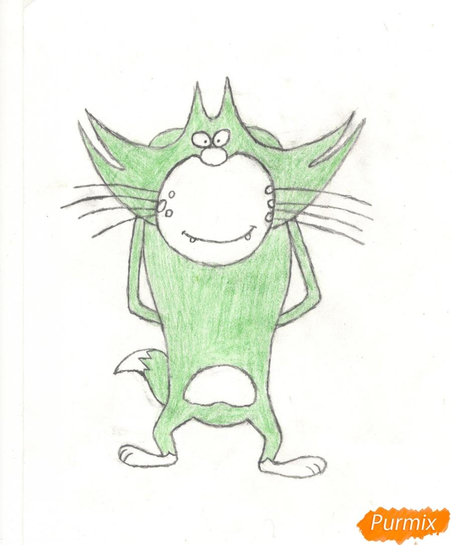 Рисуем кота Джека из мультисериала Огги и Тараканы карандашами - шаг 8
