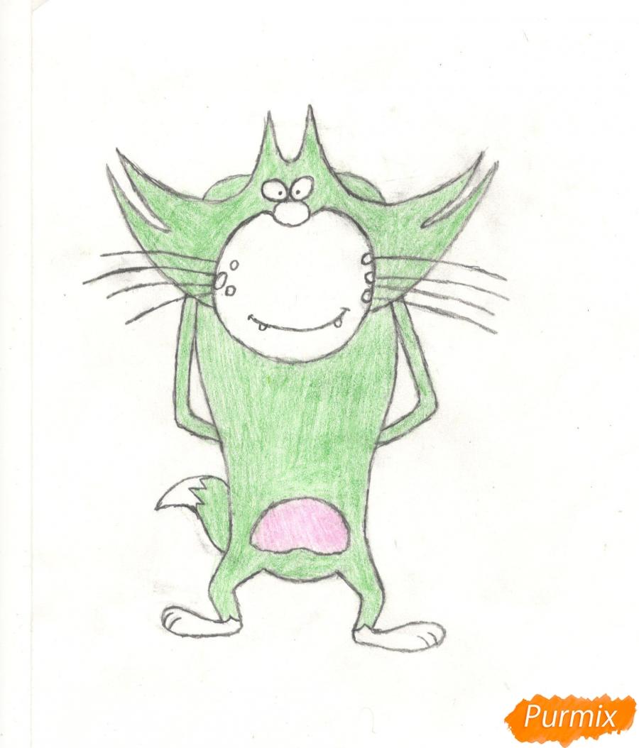 Рисуем кота Джека из мультисериала Огги и Тараканы карандашами - шаг 9