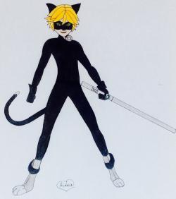 Рисунок Кота Нуара из мультфильма Леди Баг и Супер-Кот
