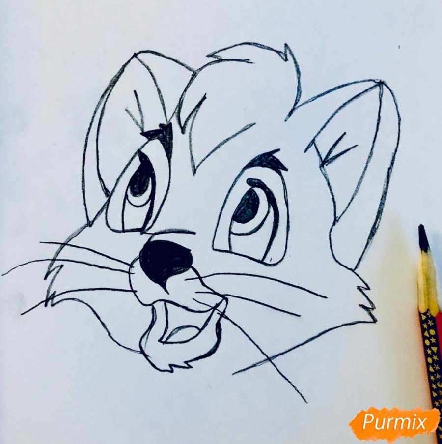 Рисуем котёнка по имени Оливер из мультфильма Оливер и компания - шаг 2