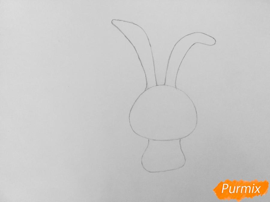Рисуем кролика Снежка из мультфильма Тайная жизнь домашних животных - шаг 3