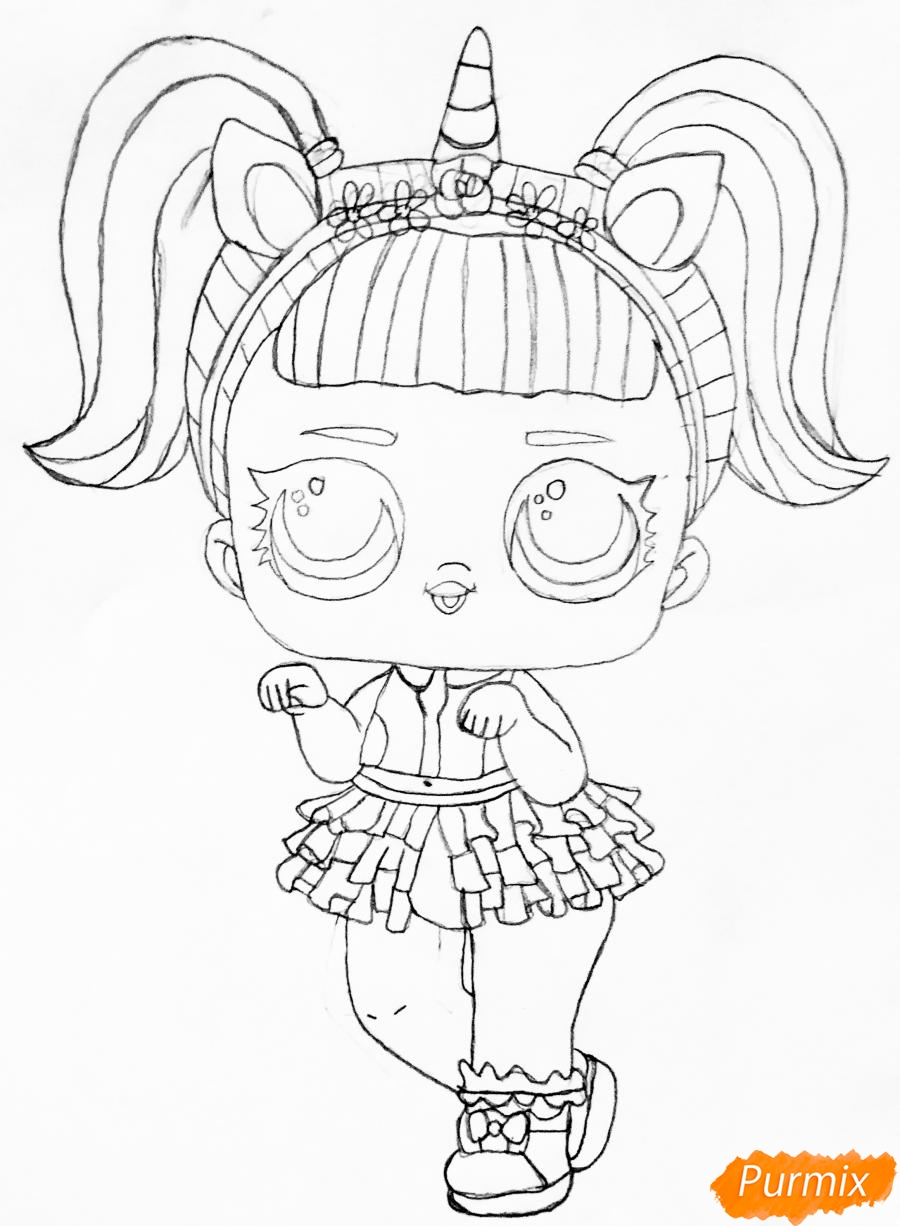 Рисуем куклу Лол с обручем в стиле Единорога карандашами - фото 5