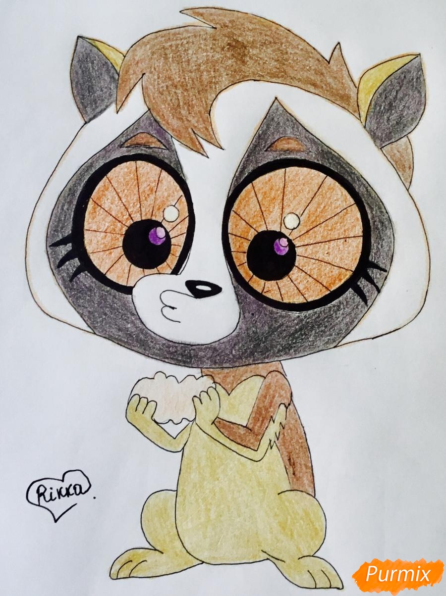 Как нарисовать лори по имени Долорис из мультфильма My Littlest Pet Shop карандашом поэтапно