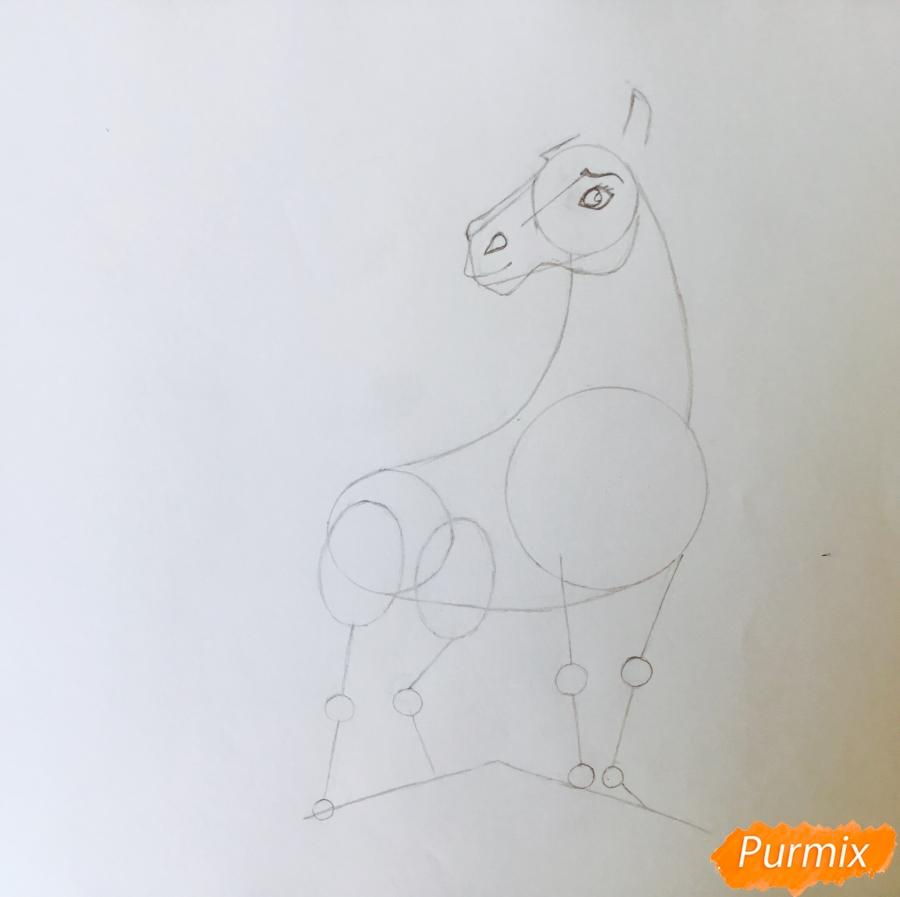 Рисуем лошадь Спирит из мультфильма: Спирит Душа прерий - шаг 4