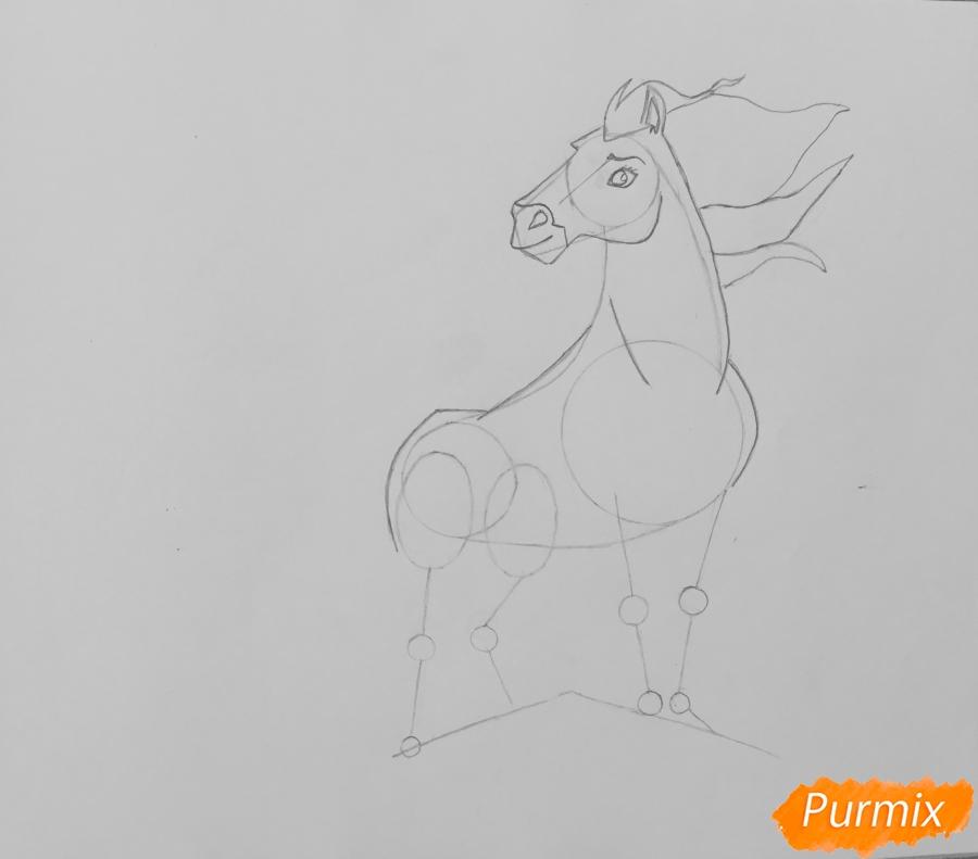 Рисуем лошадь Спирит из мультфильма: Спирит Душа прерий - шаг 5