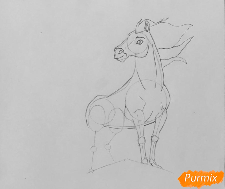 Рисуем лошадь Спирит из мультфильма: Спирит Душа прерий - шаг 6