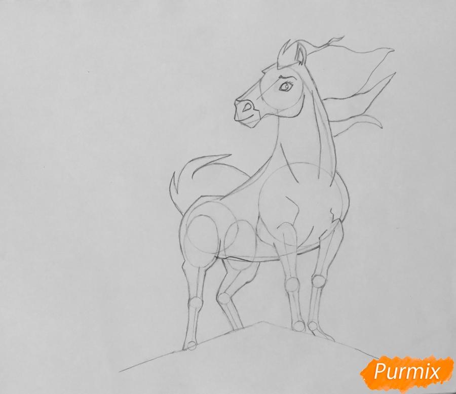 Рисуем лошадь Спирит из мультфильма: Спирит Душа прерий - шаг 7