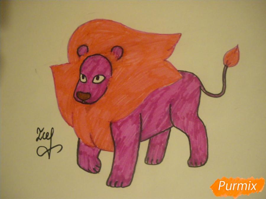 Как нарисовать льва Стивена из Вселенная Стивена карандашами поэтапно