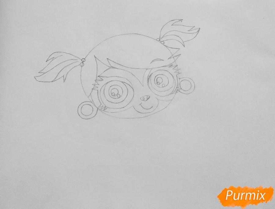 Рисуем обезьянку Минку из мультфильма:My Littlest Pet Shop - шаг 3