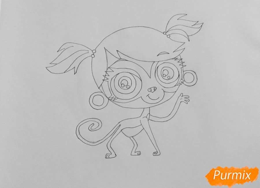 Рисуем обезьянку Минку из мультфильма:My Littlest Pet Shop - шаг 5