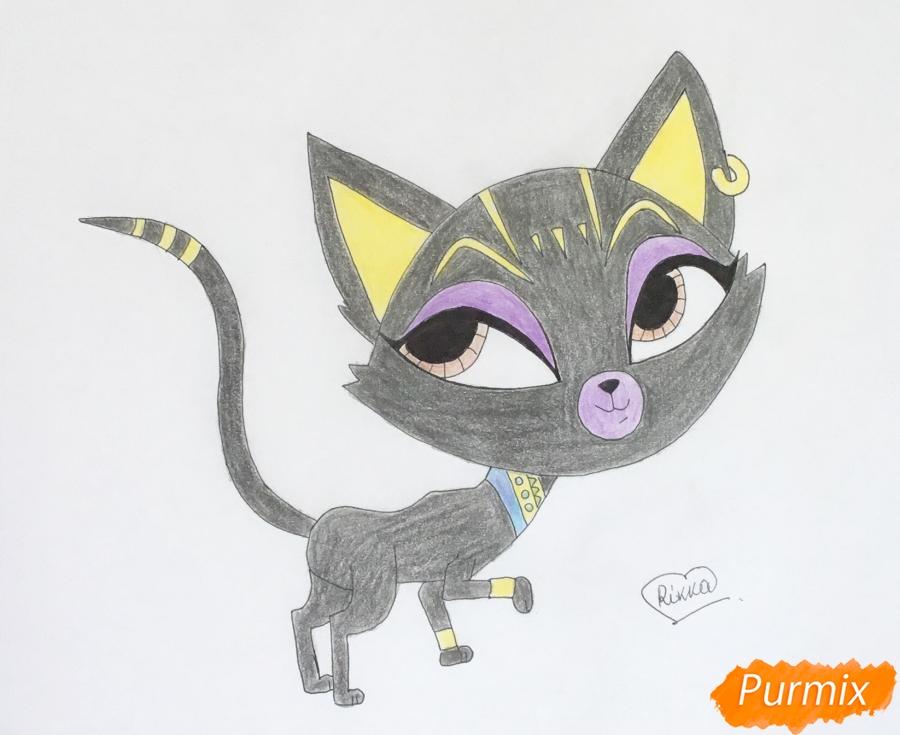 Как нарисовать Египитскую кошку из мультфильма My Littlest Pet Shop карандашом поэтапно