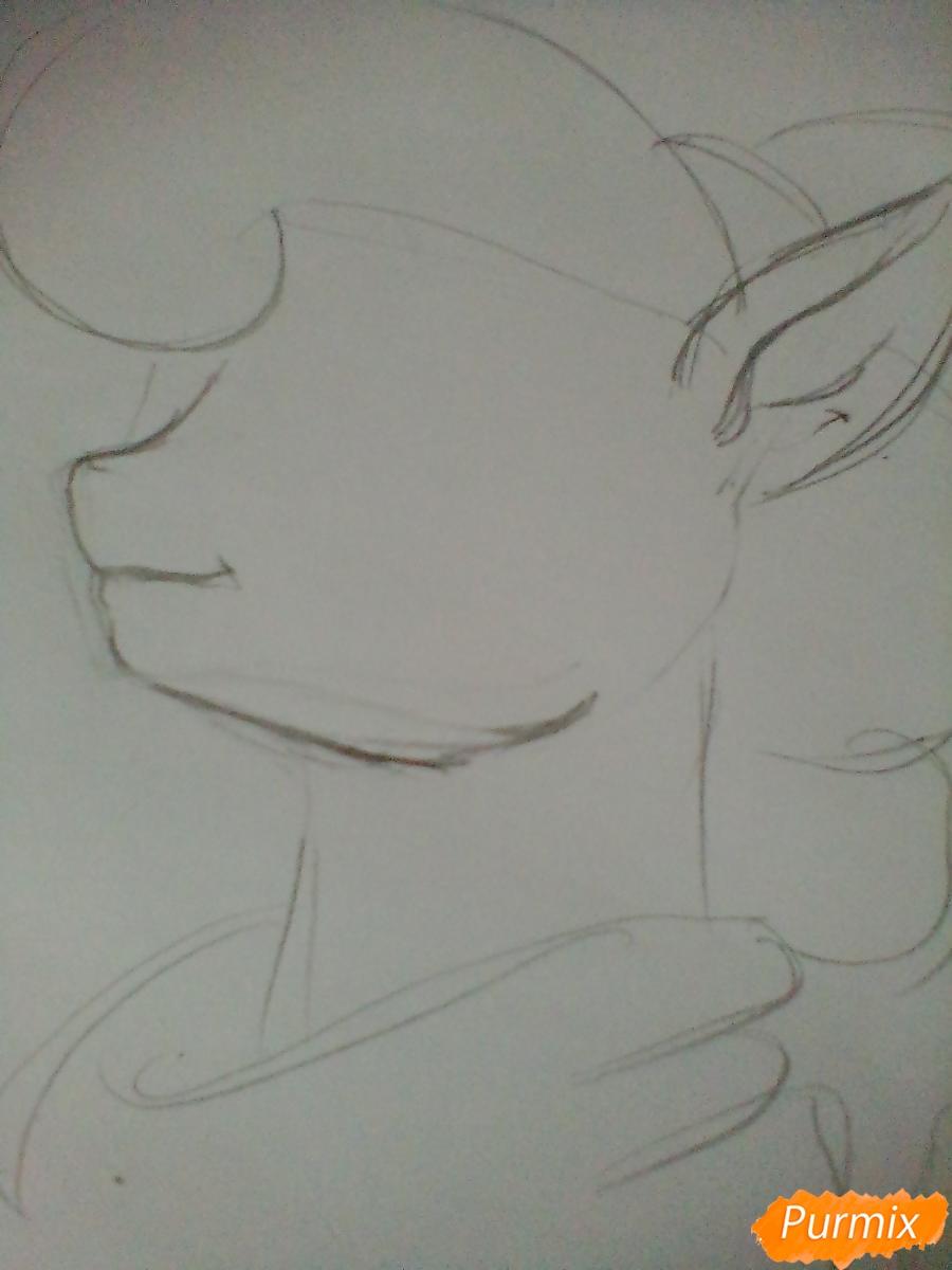 Рисуем пони Луна с чашкой - шаг 2