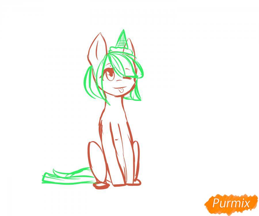 Рисуем пони с мороженым на голове - шаг 3