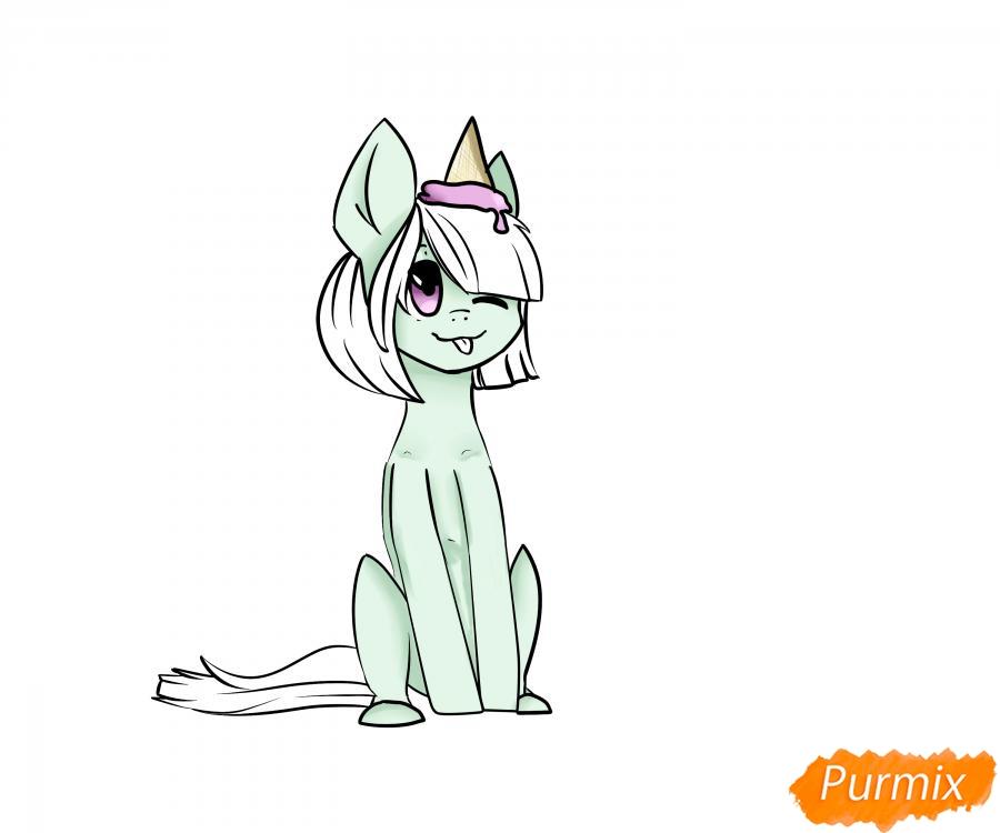 Рисуем пони с мороженым на голове - шаг 6