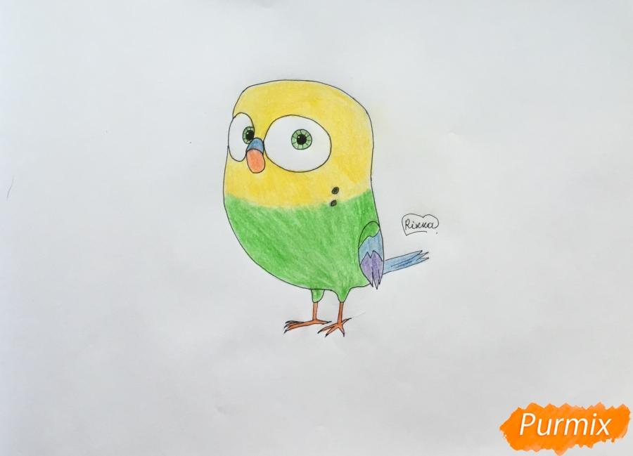 Как нарисовать птичку Кукси из мультфильма Тайная жизнь домашних животных карандашом поэтапно.