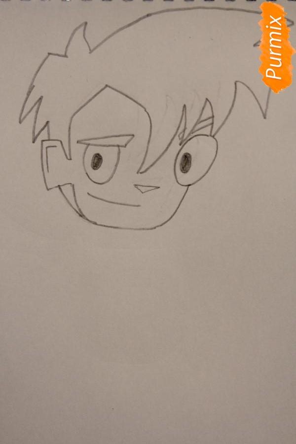 Рисуем Рэнди Каннингема из мультфильма Классный Ниндзя карандашами - шаг 2