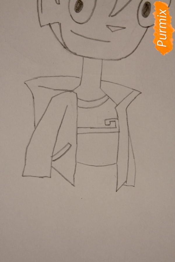 Рисуем Рэнди Каннингема из мультфильма Классный Ниндзя карандашами - шаг 3
