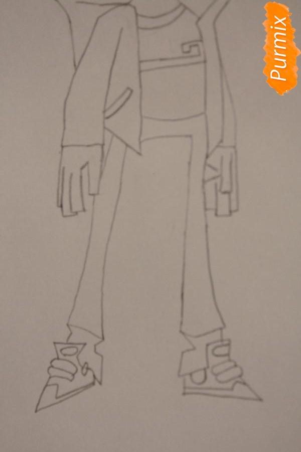 Рисуем Рэнди Каннингема из мультфильма Классный Ниндзя карандашами - шаг 5