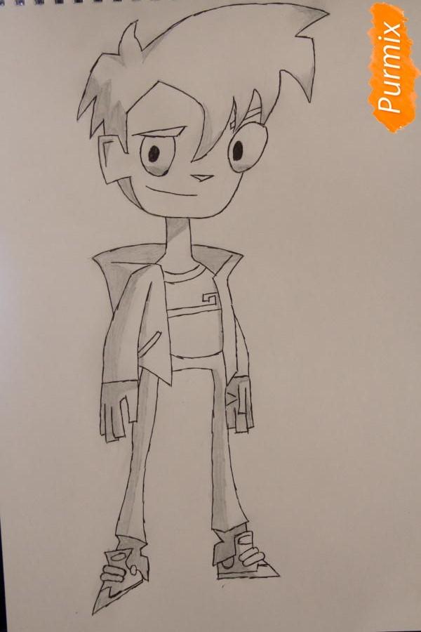 Как нарисовать Рэнди Каннингема из мультфильма Классный Ниндзя карандашами поэтапно