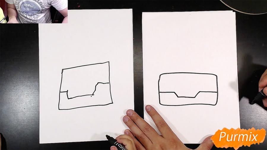 Рисуем Робокар Поли маркером и мелками - шаг 1