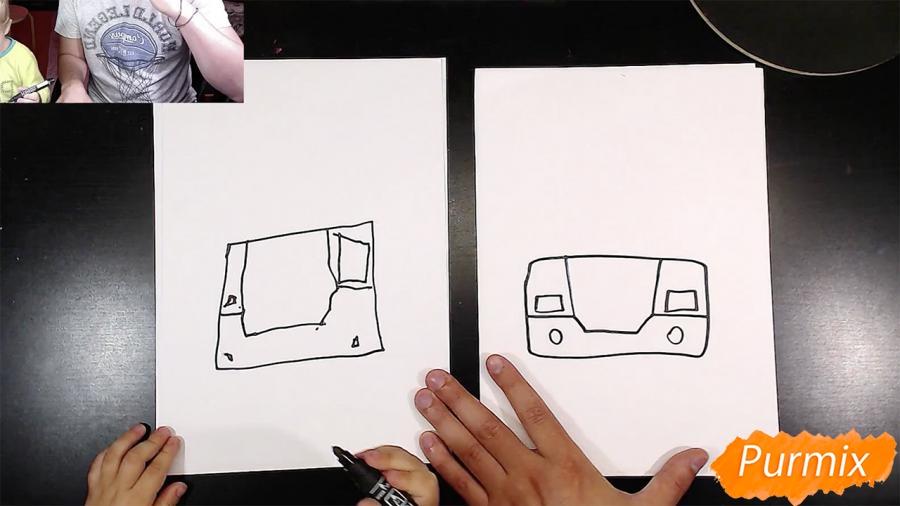 Рисуем Робокар Поли маркером и мелками - шаг 2