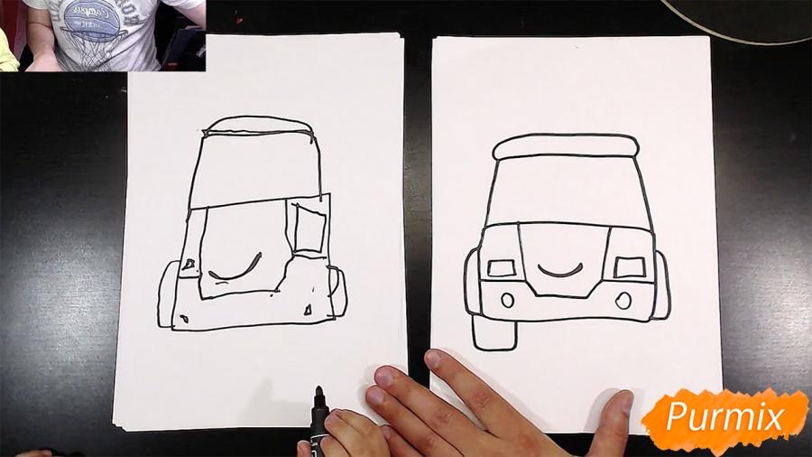 Рисуем Робокар Поли маркером и мелками - шаг 3