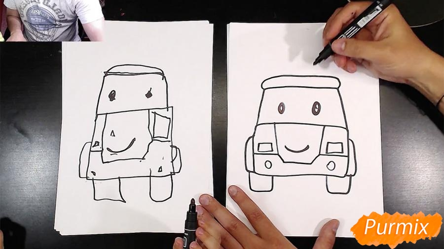 Рисуем Робокар Поли маркером и мелками - шаг 4