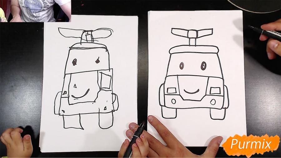 Рисуем Робокар Поли маркером и мелками - шаг 5