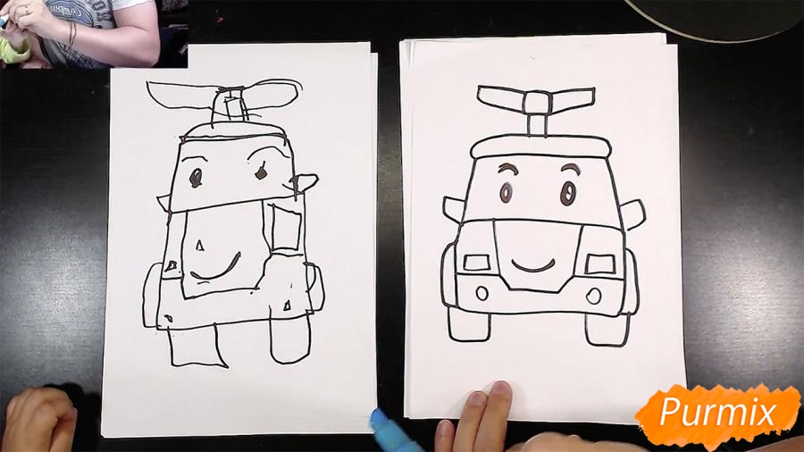 Рисуем Робокар Поли маркером и мелками - шаг 6
