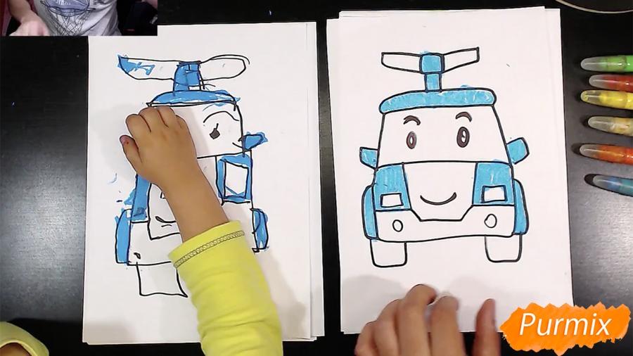 Рисуем Робокар Поли маркером и мелками - шаг 7