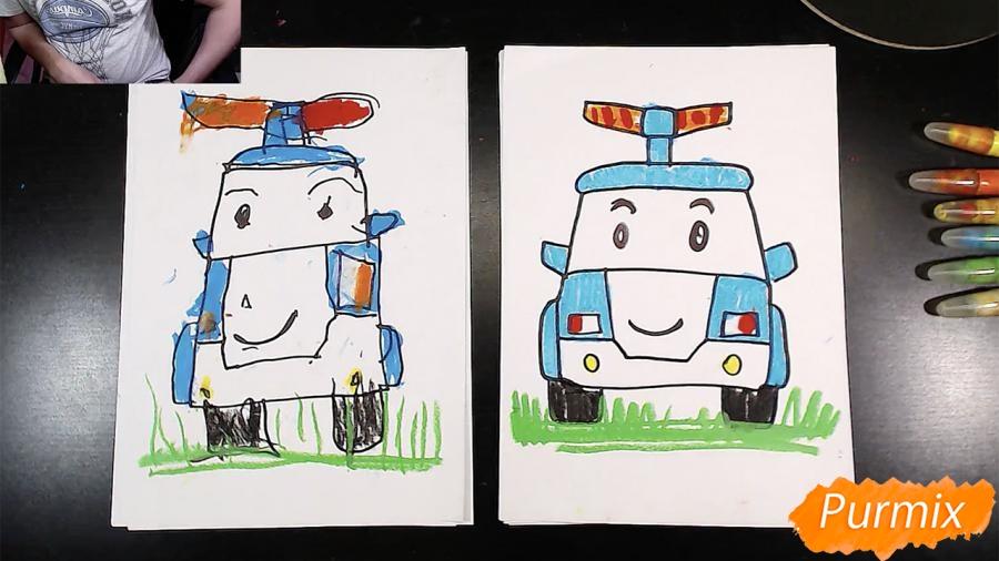 Как нарисовать Робокар Поли маркером и мелками поэтапно