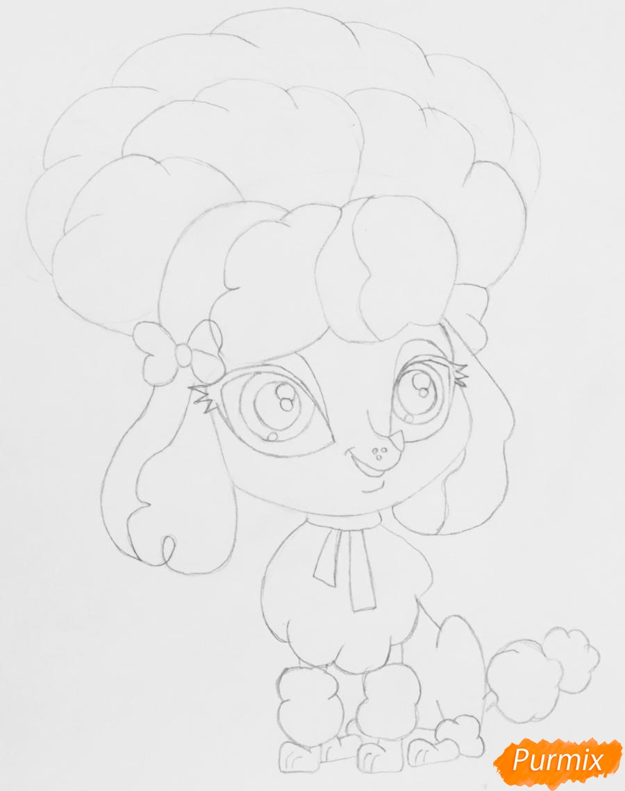 Рисуем розового пуделя из мультфильма My Littlest Pet Shop - шаг 5